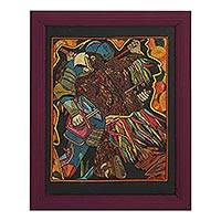 Straw painting, 'Fragment of the Embrace' - Signed Framed Straw Painting of Warriors from Mexico