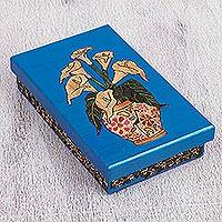 Straw and wood decorative box, 'Calla Lily Beauty' - Silver Beardgrass Calla Lily Decorative Box from Mexico