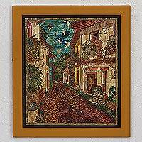 Natural fiber wall art, 'Cricket Street' - Natural Fiber Wall Art of a Mexican City Street