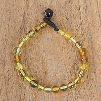 Amber beaded bracelet, 'Incandescent' - Handcrafted Amber Beaded Wristband Bracelet