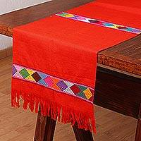 Cotton table runner, 'Warm Fiesta' - Red Cotton Hand Woven Colorful Diamond Motif Table Runner