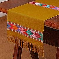 Cotton table runner, 'Harvest Fiesta' - Mustard Yellow Cotton Hand Woven Diamond Motif Table Runner