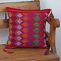Cotton cushion cover, 'Diamond Dream' - Red Cotton Hand Woven Colorful Diamond Motif Cushion Cover