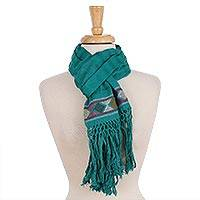 Cotton scarf, 'Texture Play in Teal' - Teal Cotton Hand Woven Colorful Diamond Motif Textured Scarf