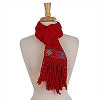 Cotton scarf, 'Texture Play in Red' - Red Cotton Hand Woven Colorful Diamond Motif Textured Scarf