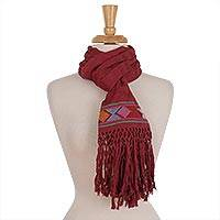 Cotton scarf, 'Texture Play in Rose' - Rose Cotton Hand Woven Colorful Diamond Motif Textured Scarf