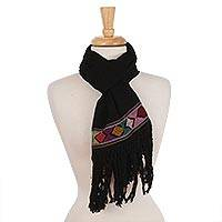 Cotton scarf, 'Texture Play in Black' - Black Cotton Hand Woven Colorful Diamond Motif Scarf