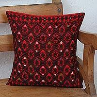 Cotton cushion cover, 'Geometric Dance in Chili' - Cotton Cushion Cover in Chili and Black from Mexico