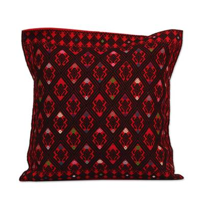 Cotton Cushion Cover in Chili and Black from Mexico