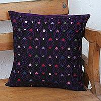 Cotton cushion cover, 'Geometric Dance in Purple' - Cotton Cushion Cover in Purple and Black from Mexico