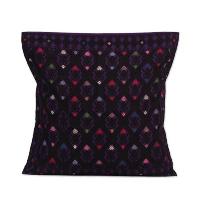 Cotton Cushion Cover in Purple and Black from Mexico