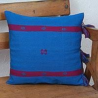 Cotton cushion cover, 'Cerulean Textile' - Cotton Cushion Cover in Cerulean and Magenta from Mexico