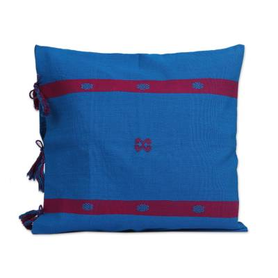 Cotton Cushion Cover in Cerulean and Magenta from Mexico