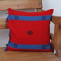 Cotton cushion cover, 'Strawberry Field' - Handwoven Cotton Cushion Cover in Strawberry from Mexico
