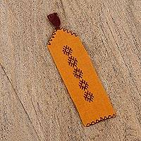 Cotton bookmark, 'Studious Artisan in Amber' - Handwoven Cotton Bookmark in Amber from Mexico