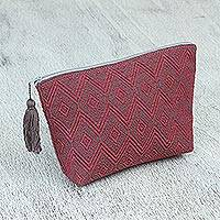 Cotton cosmetic bag, 'Rosy Geometry' - Grey and Pink Brocade Pattern Handwoven Cotton Cosmetics Bag