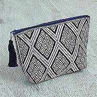 Cotton cosmetic bag, 'Diamond Details' - Navy Ivory Brocade Pattern Handwoven Cotton Cosmetics Bag