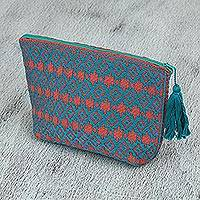 Cotton cosmetic bag, 'Sun Waves' - Orange Teal Brocade Pattern Handwoven Cotton Cosmetics Bag