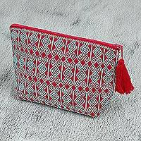 Cotton cosmetic bag, 'Diamond Maze' - Red and Blue Brocade Pattern Handwoven Cotton Cosmetics Bag