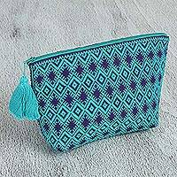 Cotton cosmetics bag, 'Diamonds and Starbursts' - Aqua Purple Brocade Pattern Handwoven Cotton Cosmetics Bag
