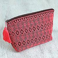 Cotton cosmetic bag, 'Geranium Curls' - Cotton Cosmetic Bag in Geranium and Cherry from Mexico