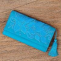 Cotton wallet, 'Sky Garden' - Handcrafted Sky Blue Embroidered Cotton Wallet with Tassel