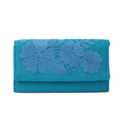 Handcrafted Sky Blue Embroidered Cotton Wallet with Tassel