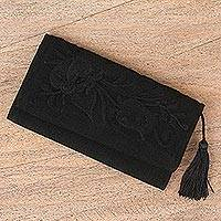 Cotton wallet, 'Midnight Sky Garden' - Handcrafted Black Embroidered Cotton Wallet with Tassel