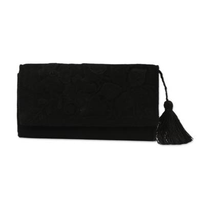Handcrafted Black Embroidered Cotton Wallet with Tassel