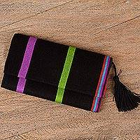 Cotton wallet, 'Exhilarating' - Handcrafted Black Cotton Wallet with Colorful Stripes