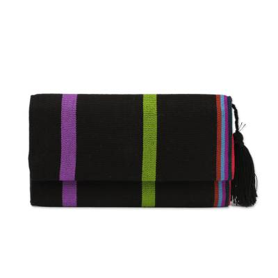 Handcrafted Black Cotton Wallet with Colorful Stripes