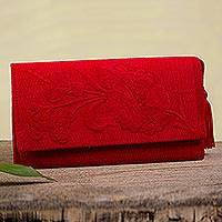 Cotton wallet, 'Cherry Sky Garden' - Handcrafted Red Embroidered Cotton Wallet with Tassel