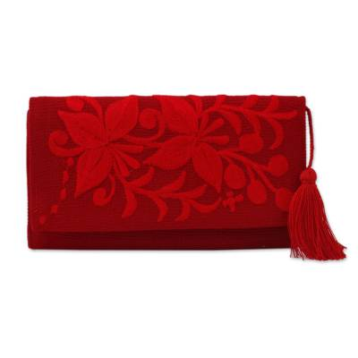 Handcrafted Red Embroidered Cotton Wallet with Tassel