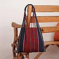 Cotton tote bag, 'Stripe Savvy in Red' - Handwoven Cotton Striped Blue and Red Tote Bag