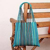 Cotton tote bag, 'Stripe Savvy in Teal' - Handwoven Cotton Teal and Multicolor Striped Tote Bag