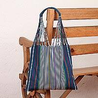 Cotton tote bag, 'Stripe Savvy in Navy' - Handwoven Cotton Marine Blue and Multicolor Striped Tote Bag
