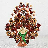 Ceramic sculpture, 'Calla Lily Tree' - Handcrafted Ceramic Blooming Tree with Butterflies
