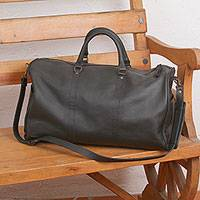 Leather travel bag, 'Sojourner' - Black Leather Handcrafted Travel Bag with Shoulder Strap