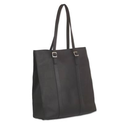 Handcrafted Black Leather Tote Bag with Adjustable Straps