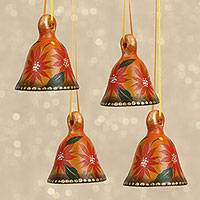 Ceramic ornaments, 'Poinsettia Bells' (set of 4) - Handcrafted Poinsettia Ceramic Bell Ornaments (Set of 4)