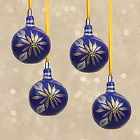 Ceramic ornaments, 'Blue Poinsettia' (set of 4) - Blue Handcrafted Ceramic Poinsettia Ornaments (Set of 4)