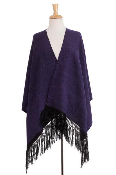 Zapotec cotton rebozo shawl, 'Striped Diamonds in Purple' - Zapotec Purple and Black Diamond Striped Cotton Rebozo