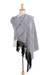 Zapotec cotton rebozo shawl, 'Striped Diamonds in White' - Handwoven White and Black Zapotec Cotton Rebozo Shawls (image 2) thumbail