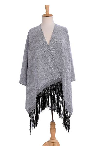 Zapotec cotton rebozo shawl, 'Striped Diamonds in White' - Handwoven White and Black Zapotec Cotton Rebozo Shawls