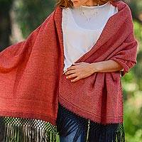 Zapotec cotton rebozo shawl, 'Striped Diamonds in Red'