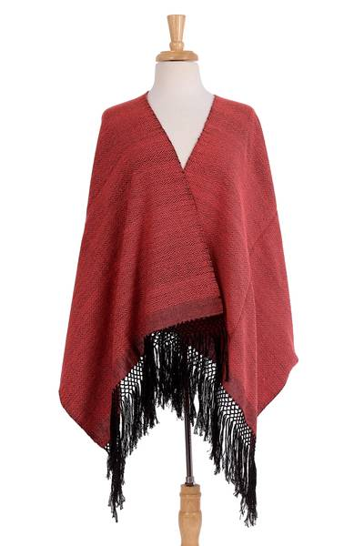Zapotec cotton rebozo shawl, 'Striped Diamonds in Red' - Handwoven Red and Black Diamond Striped Cotton Rebozo
