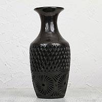 Ceramic decorative vase, 'Mexican Heirloom' - Handcrafted Black Ceramic Decorative Vase from Mexico