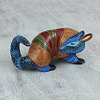 Wood alebrije statuette, 'Relaxing Armadillo' - Handcrafted Alebrije Armadillo Statuette from Mexico
