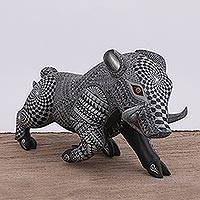 Wood alebrije statuette, 'Raging Boar' - Handcrafted Copal Wood Boar Statuette from Mexico