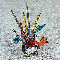Wood alebrije statuette, 'Happy Alien' - Handcrafted Alien Alebrije Statuette from Mexico